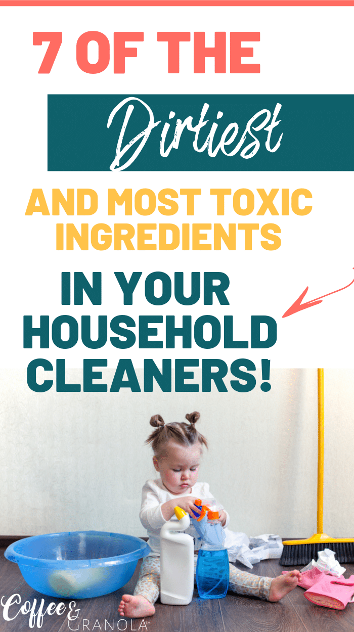 Tired of using toxic cleaners that you can't leave around your kids? The toxins on this list are scary and eye opening but you also learn how to turn your home into a toxin-free home using all natural cleaners! #naturalliving #toxinfree #toxicfree