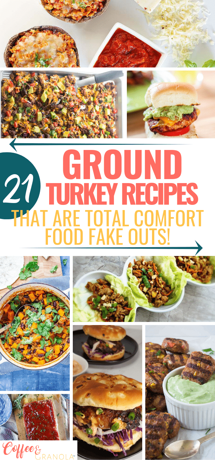 Looking for indulgent comfort foods that you don't have to feel guilty eating? Try these comfort food recipes using ground turkey. They are amazing! #groundturkey #dinner #healthyrecipes
