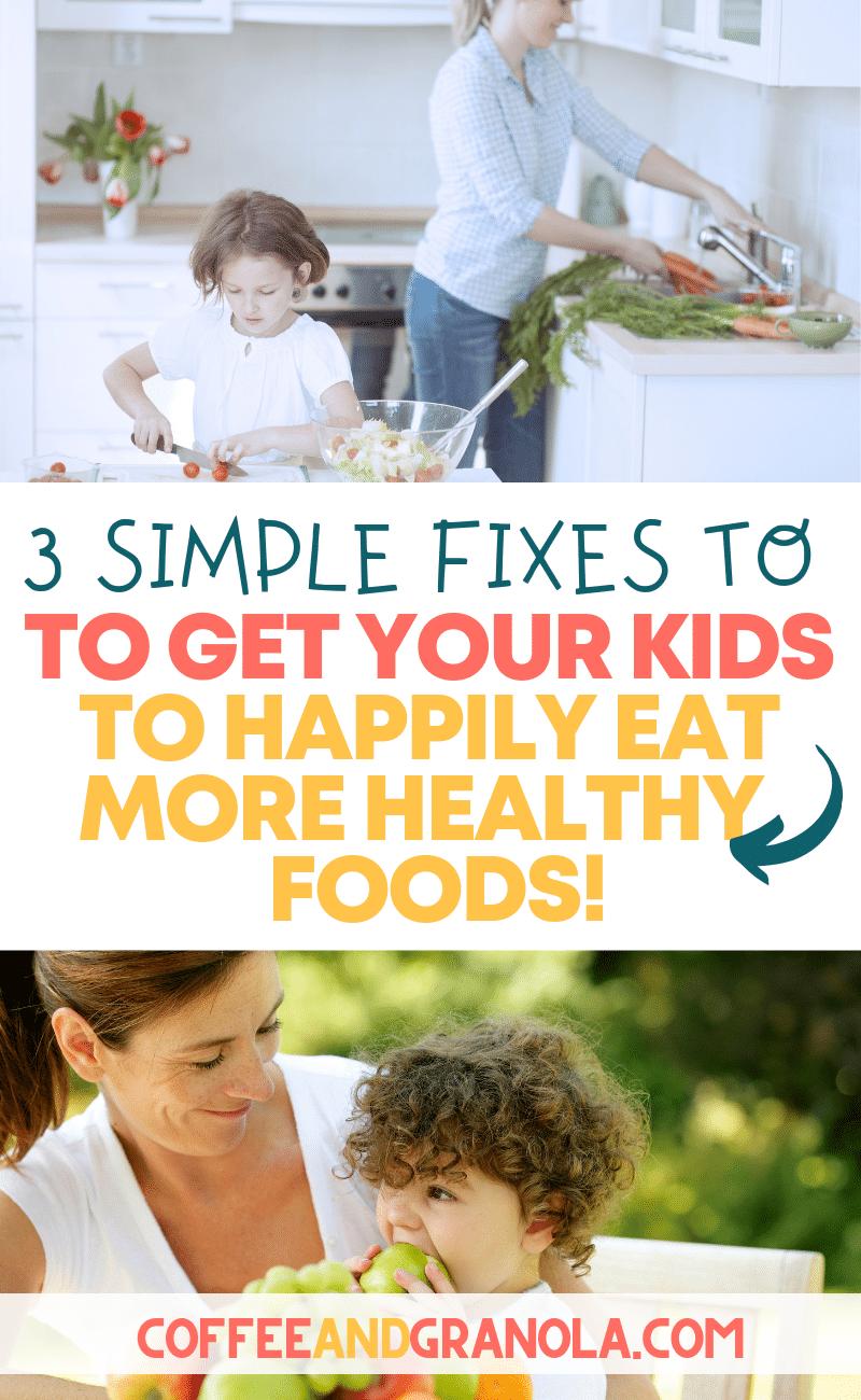 Ever wonder how to get your kid to eat more veggies and other healthy foods? These simple fixes will get your kids to happily eat their veggies! #kidsandparenting #parenting #healthy #foodforkids